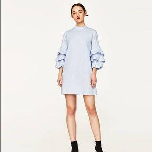 NWT Zara Baby Blue Frilled Ruffle Sleeve Dress
